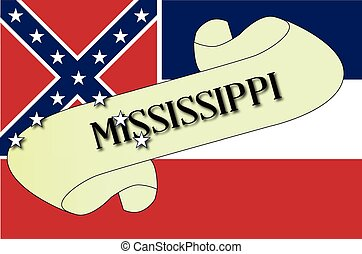 Mississippi Scroll - A scroll with the text Mississippi with...