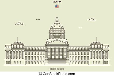 Mississippi State Capitol in Jackson, USA. Landmark icon in linear style