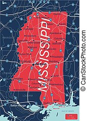 Mississippi state detailed editable map