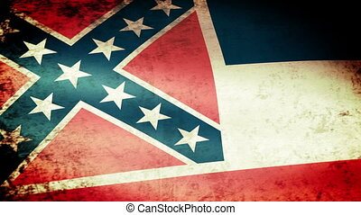 Mississippi State Flag Waving, grunge look