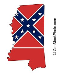 Mississippi State Map Outline and Flag