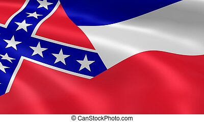 Mississippian flag in the wind