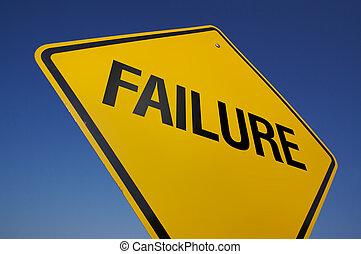 misslyckande, vägmärke