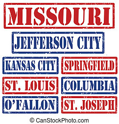 Missouri Cities stamps - Set of Missouri cities stamps on...