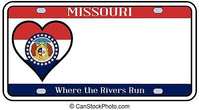 Missouri License Plate - Missouri state license plate in the...