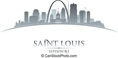 missouri, luigi, fondo, santo, città, silhouette, bianco