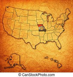 missouri on map of usa - missouri on old vintage map of usa...