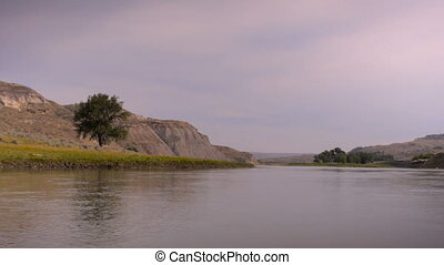 Missouri river shot from a moving canoe along the Lewis and...