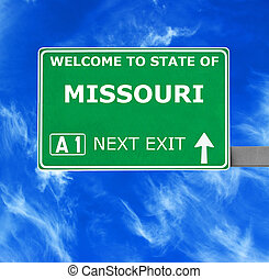 MISSOURI road sign against clear blue sky