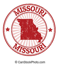 Missouri stamp - Grunge rubber stamp with the name and map ...