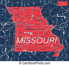 Missouri state detailed editable map