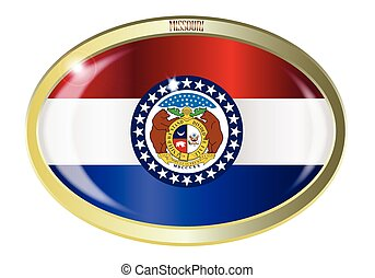 Missouri State Flag Oval Button