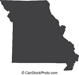 Missouri state map in black on a white background. Vector...