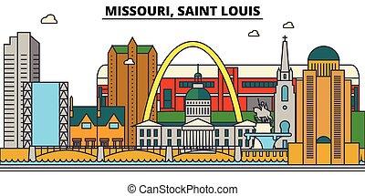 missouri, szent, louis., város égvonal, építészet, épületek, utcák, árnykép, táj, panoráma, landmarks., editable, strokes., lakás, tervezés, egyenes, vektor, ábra, concept., elszigetelt, ikonok
