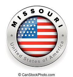 Missouri Usa flag badge button