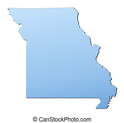 Missouri(USA) map filled with light blue gradient. High...