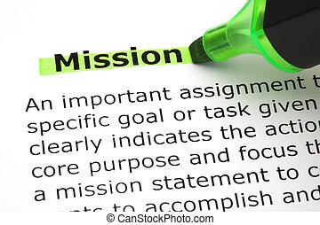 misszió, kijelölt, noha, zöld, könyvjelző