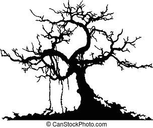mistério, árvore, silueta