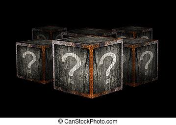 mistério, caixas