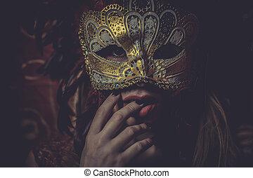mistério, dourado, festival, ouro, fio, máscara, bordado, pano, loiro, vermelho, sensualidade