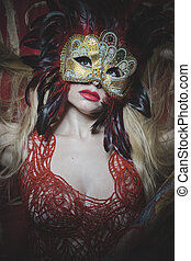 mistério, dourado, sensualidade, ouro, fio, máscara, bordado, pano, loiro, vermelho