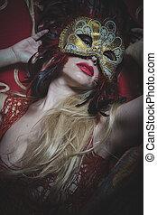 mistério, dourado, sensualidade, ouro, fio, máscara, bordado, pano, majestoso, loiro, vermelho