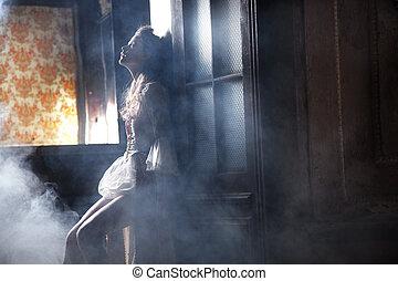 mistério, foto, mulher, excitado