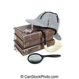 mistério, livros, com, chapéu, magnifier, cano, e, relógio...