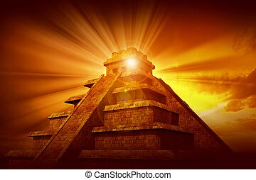 mistério, mayan, piramide