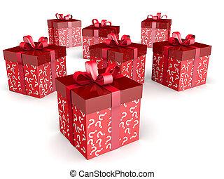 mistério, presente, e, surpresa, conceito, caixa presente