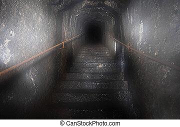 mistério, túnel, escuro, escadaria, saída