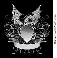 mistério, winged, sobre, escudo, dragão