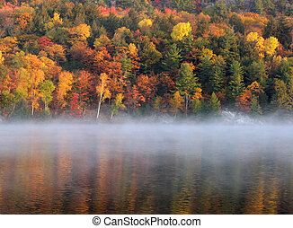 Mist above George Lake, Killarney Provincial Park