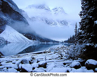 Misty morning at Moraine Lake, Banff National Park, Canada