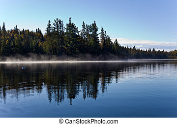 Mist at Sunrise on Algonquin Lake