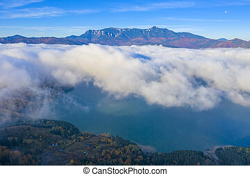 Mist band over the lake