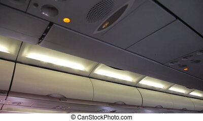 mist from the air conditioner in the aircraft cabin - mist...