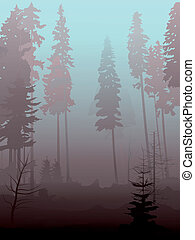 Vector illustration background of mist in coniferous forest in morning.