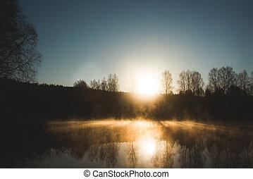 Mist on forest river at sunrise, spring, Ural, Chusovaya, ...