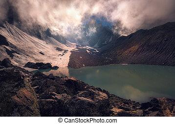 mist over mountain lake