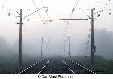 mist over railway at dawn