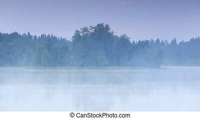 Mist over the lake Moiseevskoe