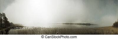Mist panorama - Panorama montage with sun breaking through...