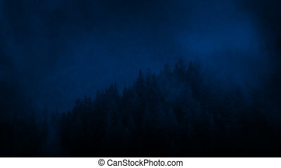 Mist Passes Over Mountain Forest At Night