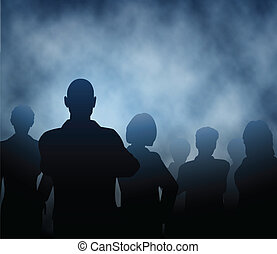 Mist people - Editable vector silhouettes of a business team...