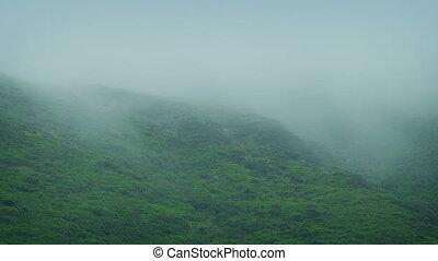 Mist Rolls Across Rugged Hillside - Thick mist moves over...