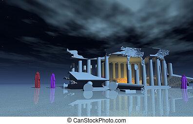 mist, tempel