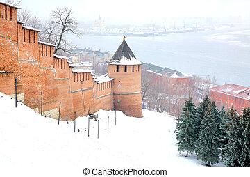 Mist view Strelka from Nizhny Novgorod Kremlin Russia