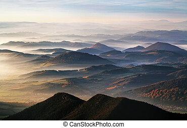 Mist with many peak - Slovakia, Kysuce country