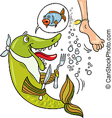 Mistake of hungry fish - Cartoon illustration of hungry fish